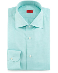 Textured solid woven sport shirt green medium 610112