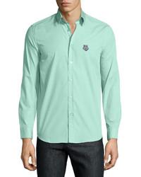 Uomo button front dress shirt mint medium 446009