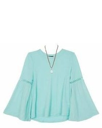 Ally B Girls Bell Sleeve Gauze Top With Necklace