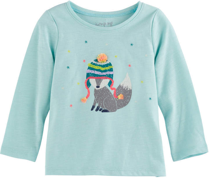 Baby Girl Jumping Beans Long Sleeve Slubbed Graphic Tee