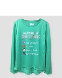 Lucas Girls Star Wars All I Want For Christmas Long Sleeve Graphic T Shirt Mint Green