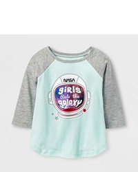 Nasa Toddler Girls Nasa Explore Learn Empower Achieve Raglan Long Sleeve T Shirt Mint