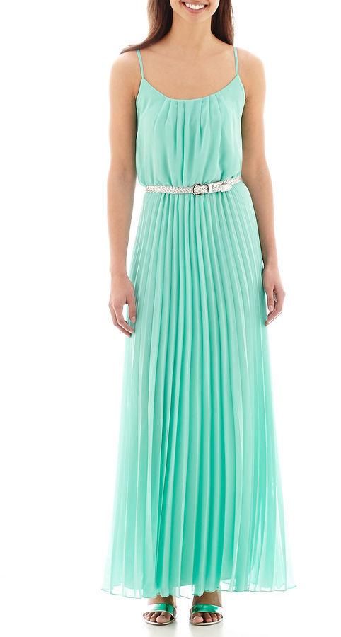 c164064df0f ... Bisou Bisou Spaghetti Strap Pleated Belted Maxi Dress