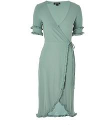 Frill sleeve wrap midi dress medium 5028590