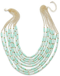 Bar III Gold Tone Mint Bead Multi Row Necklace