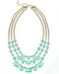 Lovestruck Love Struck Love Struck Gold Tone Mint Green 3 Row Necklace