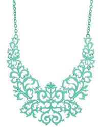 Bar III Mint Tone Lace Design Bib Necklace