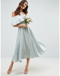Asos Wedding Bardot Fold Prom Midi Dress