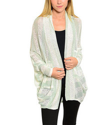 Mint White Open Cardigan