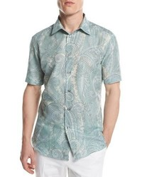 Brioni Large Paisley Short Sleeve Sport Shirt Green