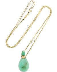 Jacquie Aiche 14 Karat Gold Chrysoprase And Diamond Necklace