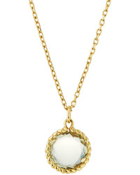 Roberto Coin Ipanema 18k Small Round Green Amethyst Pendant Necklace