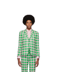 Thom Browne Green And Pink Flannel Check Blazer