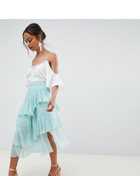 Mint Pleated Chiffon Midi Skirt