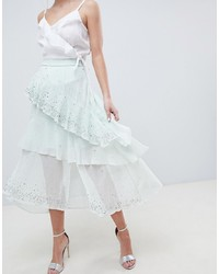 ASOS DESIGN Embellisht Asymmetric Ruffle High Low Midi Skirt
