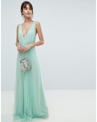 Mint Pleated Lace Evening Dress