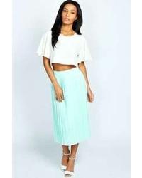 Boohoo Casey Pleated Woven Midi Skirt