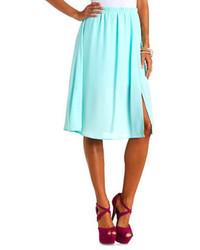 Charlotte Russe Front Slit Chiffon Full Midi Skirt
