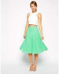 Asos Collection Midi Skirt In Chevron Pleat