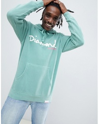 Diamond Supply Hoodie With Script Logo In Blue