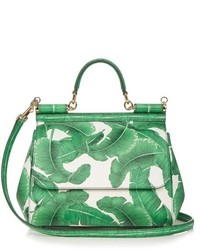 Dolce & Gabbana Sicily Medium Banana Leaf Print Leather Tote