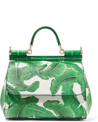 Dolce & Gabbana Sicily Medium Printed Textured Leather Tote Green