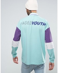 c5b03cfe610 ... Asos Oversized Long Sleeve Pique Polo With Faded Youth Back Print