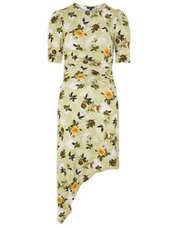 Topshop Ruched Floral Print Midi Shift Dress
