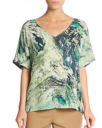 Lafayette 148 new york printed silk blouse medium 456157