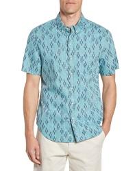 Reyn Spooner Naha Kasuri Regular Fit Geo Print Short Sleeve Sport Shirt