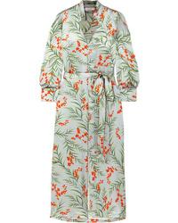 Seren Olga Floral Print Silk Satin Maxi Dress