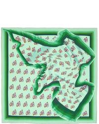 Dries Van Noten Green Silk Print Pocket Square