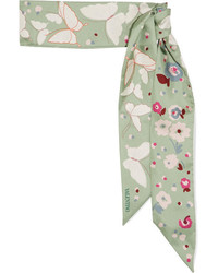 Butterfly printed silk twill scarf mint medium 4393998