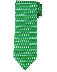 Salvatore Ferragamo Sailboat Print Silk Tie Green