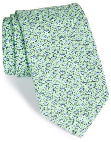 Vineyard Vines Shark Print Silk Tie