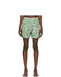 Amiri Green And Pink Banana Leaves Swim Shorts
