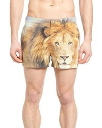 Original Penguin Lion Print Fixed Swim Trunks