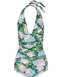 Dolce & Gabbana Ruched Printed Halterneck Swimsuit Forest Green