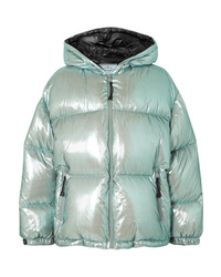Prada Oversized Quilted Metallic Shell Down Jacket