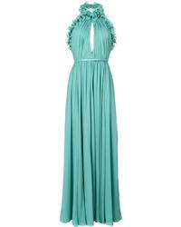 Elie Saab Ruffle Trim Halter Maxi Dress