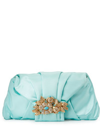 Mint Satin Clutch
