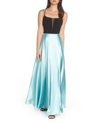 Mint Satin Evening Dress