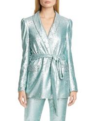 Badgley Mischka Collection Badgley Mischka Sequin Shawl Collar Jacket