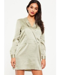 Missguided Green V Neck Satin Collar Shift Dress