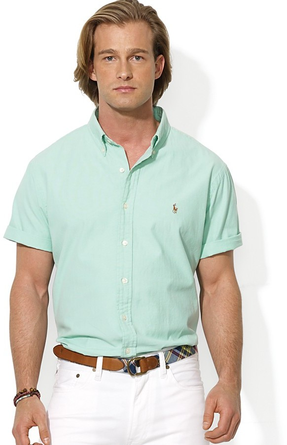Polo Ralph Lauren Custom Short Sleeve Chambray Button Down Shirt ...
