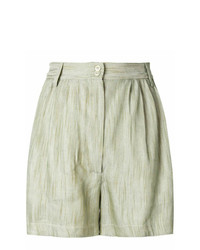 Forte Forte Cropped Pleated Mini Shorts