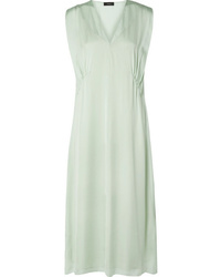 Theory Gathered Silk Charmeuse Midi Dress