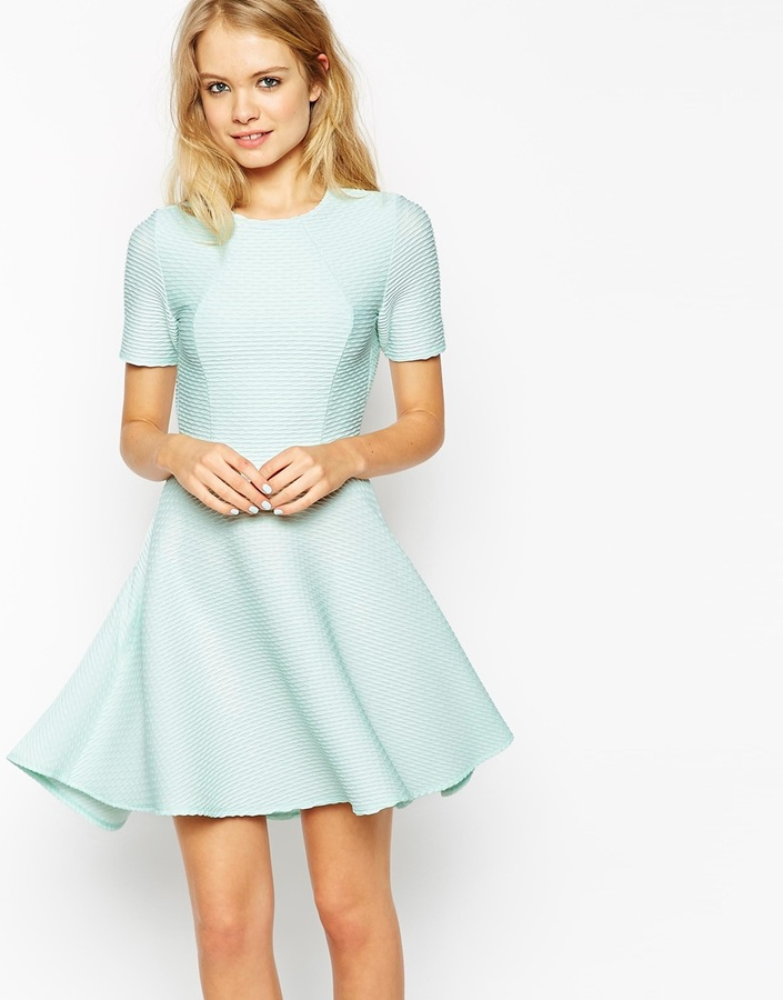 ... Mint Skater Dresses Asos Collection Skater Dress In Texture With Cut  Out Back ... 242f210ce0