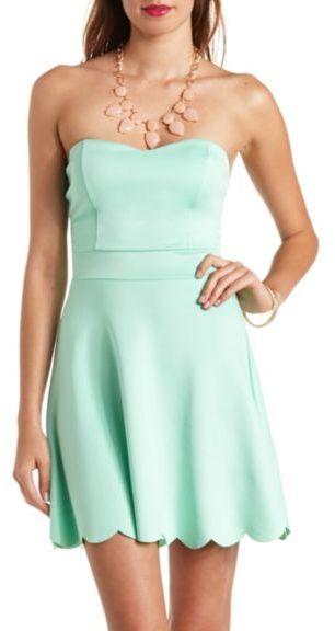 a462bb39943f Charlotte Russe Scalloped Strapless Skater Dress, $26   Charlotte ...