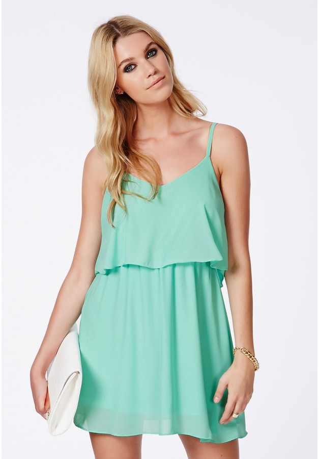 Missguided Talitha Mint Chiffon Frill Skater Dress | Where to buy ...